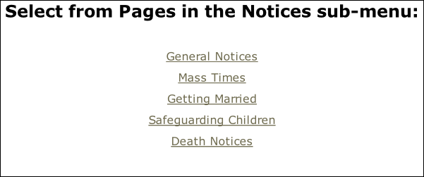 Select from Pages in the Notices sub-menu:  General Notices Mass Times Getting Married Safeguarding Children Death Notices